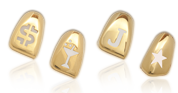 Cut Out Designs in Gold Denture Teeth
